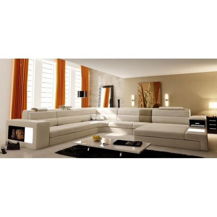Canap panoramique en cuir beige droit venis achat for Canape panoramique design