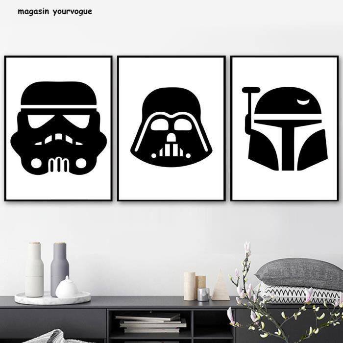 Star Wars Imprimer Toile Peinture Nordic Affiche Noir Et Blanc Dessin Animé Mur Photos Pour Salon Décoration Photos Non Encadrées