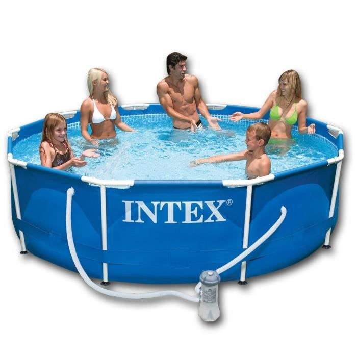 intex piscine ronde avec cadre en acier bleu 305 x 76 cm. Black Bedroom Furniture Sets. Home Design Ideas