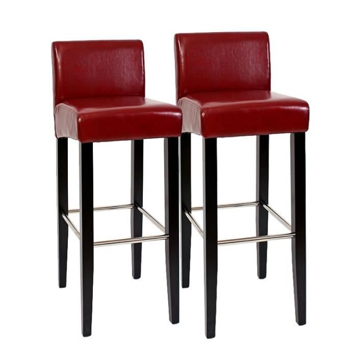Lot de 2 tabourets de bar cuisine rouge similicuir achat for Tabouret de cuisine rouge