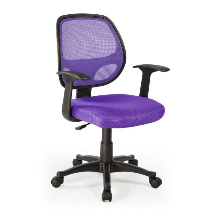 chaise de bureau violet en polyester dimensio achat vente chaise de bu. Black Bedroom Furniture Sets. Home Design Ideas