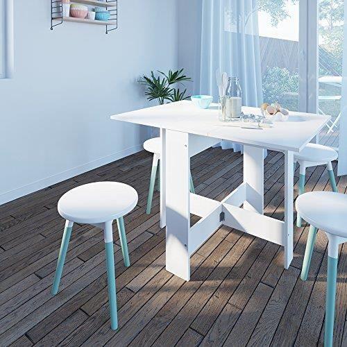 TABLE À MANGER SEULE JEOBEST® TABLE DE SALLE DE MANGER AVEC 2 ABATTANTS