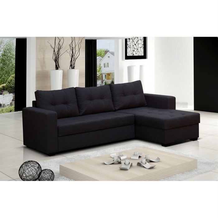 canape d angle design en tissu noir leo achat vente canap sofa divan cdiscount. Black Bedroom Furniture Sets. Home Design Ideas