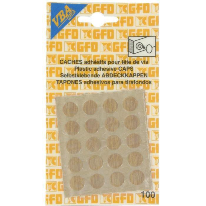 VIS - CACHE-VIS Cache vis adhésif - Diam. 12 mm - Chêne clair
