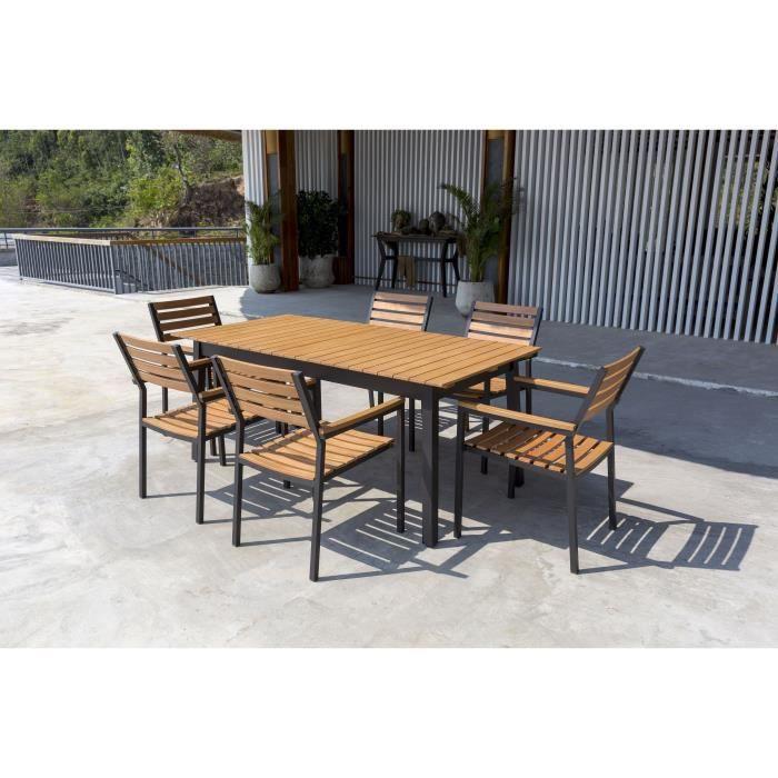Ensemble mobilier de jardin 6 places - 1 table avec plateau extensible et 6  fauteuils empilables - En bois d\'eucalyptus