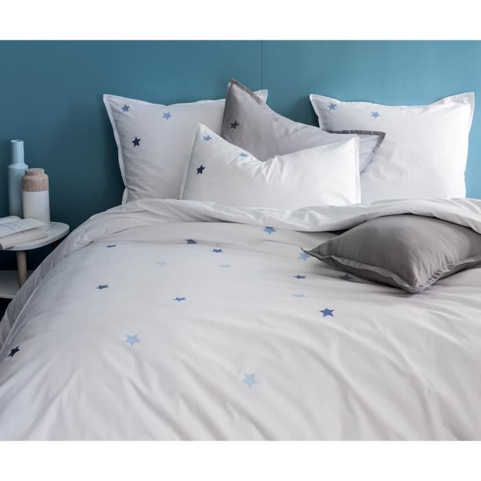 housse de couette blanche brod e bleu 100 coton achat. Black Bedroom Furniture Sets. Home Design Ideas