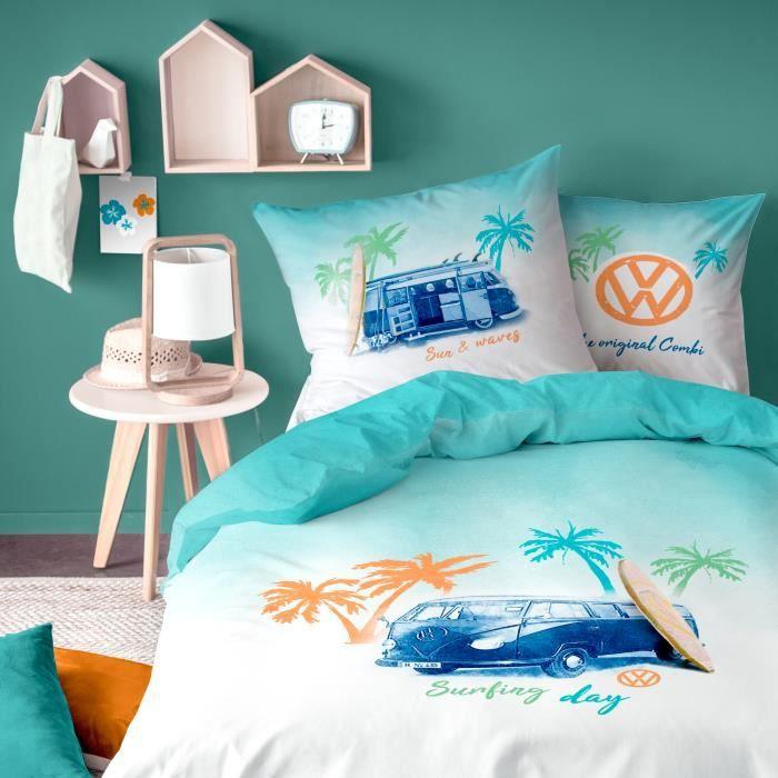 Parure De Lit Volkswagen Surf Housse De Couette Taie D Oreiller Taille 140x200 Cm Couleur Blanc Achat Vente Housse De Couette Et Taies Cdiscount