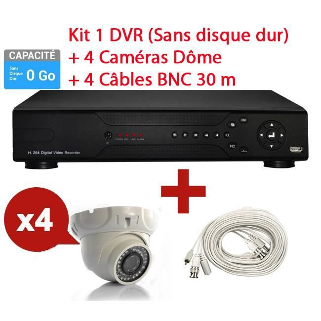 kit enregistreur hd surveillance 4 cam ra d me prix pas cher cdiscount. Black Bedroom Furniture Sets. Home Design Ideas