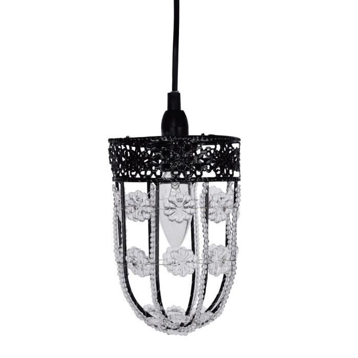 Suspension lustre traditionnel souhk en noir d cor avec for Lustre en suspension