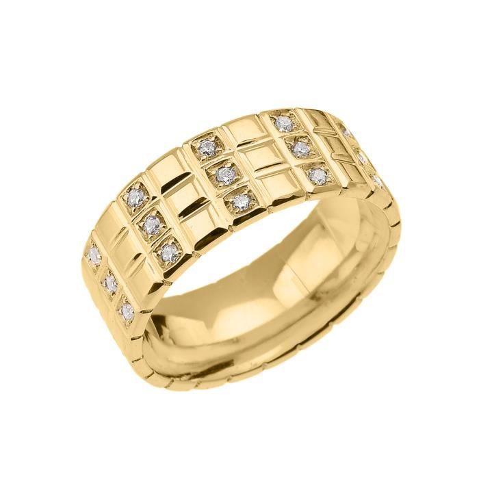 40df4cc7dec Bague Homme- Alliance 10 Ct Or Jaune Oxyde De Zirconium Damier Jaune ...