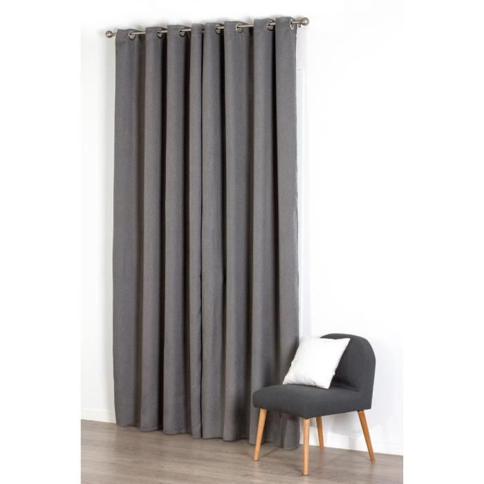 Rideau occultant natte 140x260cm gris paris prix for Rideau semi occultant