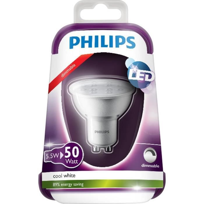 philips ampoule spot led gu10 5 5w quivalence 50w achat. Black Bedroom Furniture Sets. Home Design Ideas