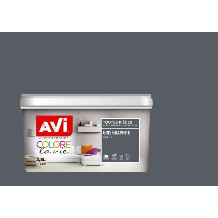 AVI Peinture murale Toutes pièces Gris Graphite Satin, 2,5L