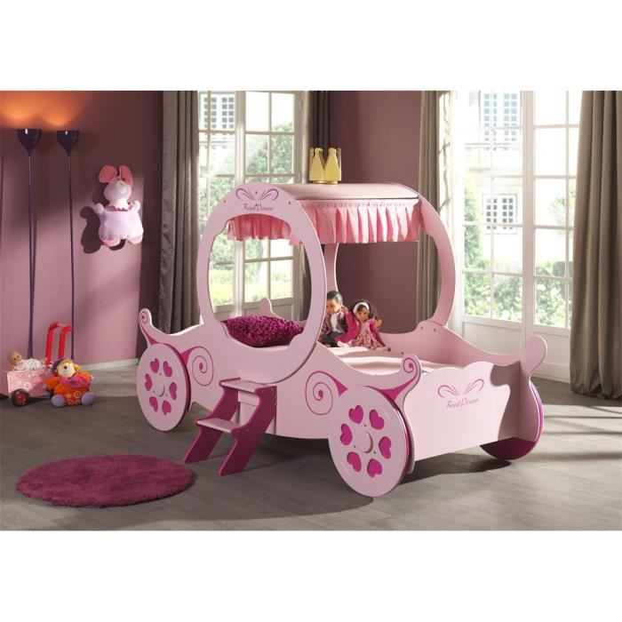fun beds lit enfant carrosse 90x200 cm rose achat. Black Bedroom Furniture Sets. Home Design Ideas