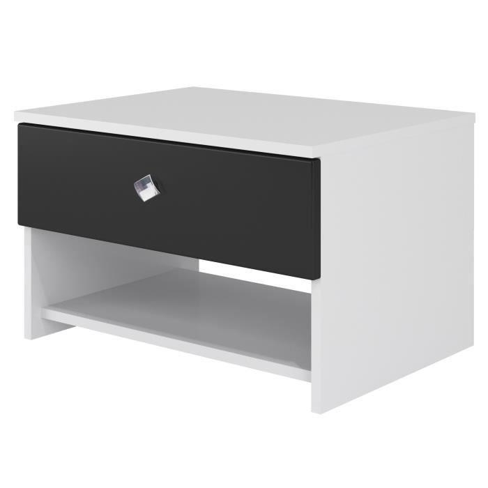CHEVET STRASS Chevet contemporain laqué blanc et noir - L