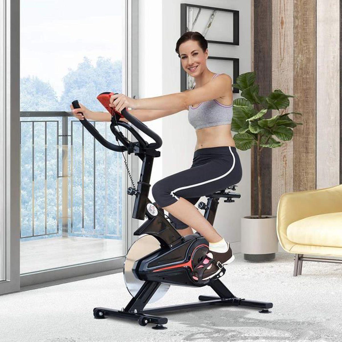 Homcom V/élo dappartement Cardio v/élo Biking /écran LCD Multifonction Selle et Guidon r/églable Volant inertie 5 Kg Noir Rouge