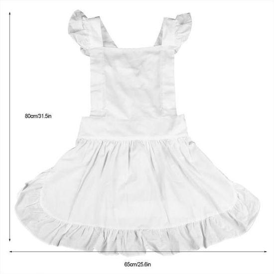 Tablier de cuisine pour enfant en coton blanc /à volants 3 6/ans