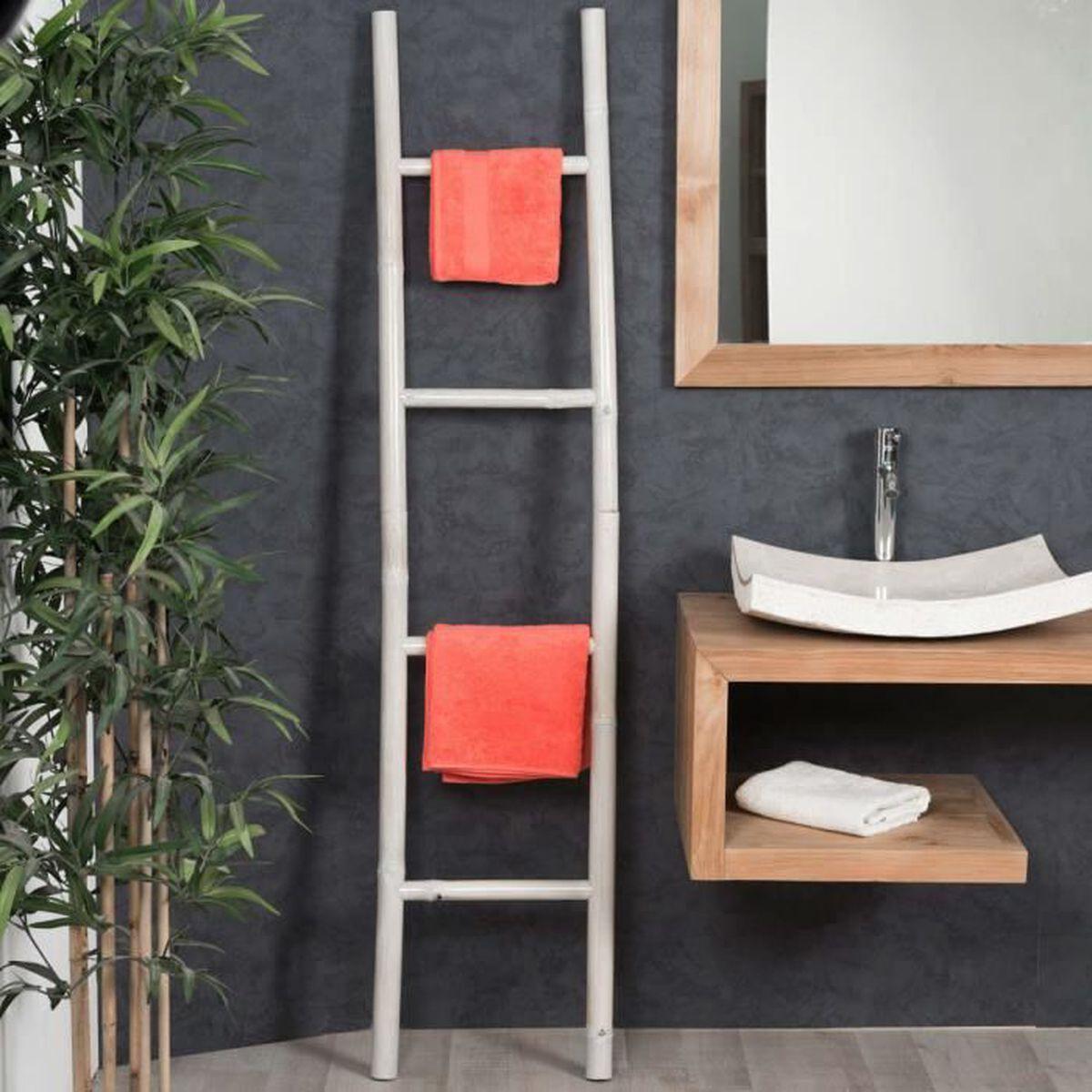 Porte serviette échelle blanc - Achat / Vente porte serviette