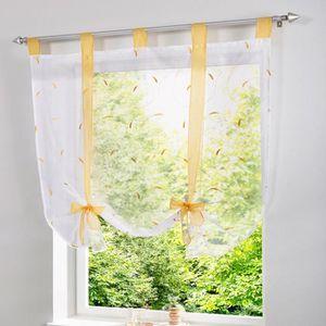 Home fashion 91041-601 Store pliss/é en voilage uni avec crochets et oeillets Blanc 140 x 60 cm