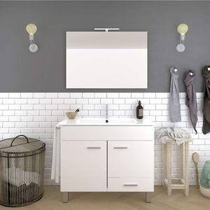 Meuble Salle De Bain Blanc Avec Vasque Et Miroir 80cm