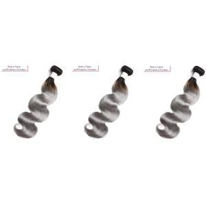 PERRUQUE - POSTICHE Lot de 3 tissages brésiliens - Ondulés ombrés gris