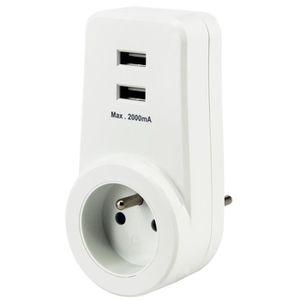 PRISE CHACON Prise 16 A avec 2 ports USB blanc