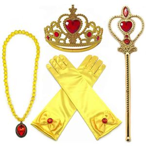 BIJOUX DÉGUISEMENT Princess Dress Up Belle Jaune 4 Pièces Diadème,Bag
