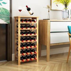 MEUBLE RANGE BOUTEILLE Casier à Vin en Bambou,Range bouteilles 28 places,
