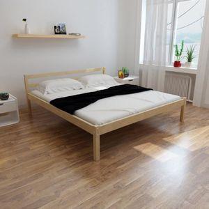 LIT COMPLET Lit en bois 200 x 180 cm avec Matelas en mousse à