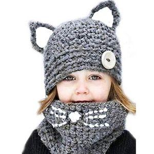 BONNET - CAGOULE Bonnet avec Oreille Bébé Enfant Tricoté Cache Cou