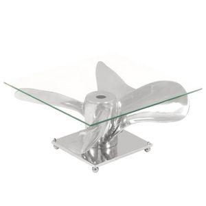 TABLE BASSE Table basse Argenté 60 x 60 x 30 cm Aluminium et v