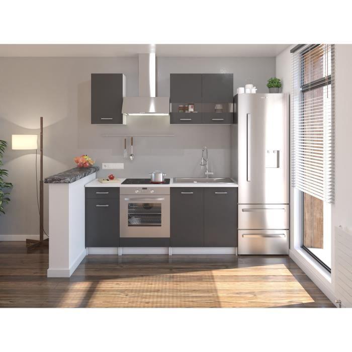 EXTRA Cuisine complète 5 éléments - 180 cm - Gris Mat