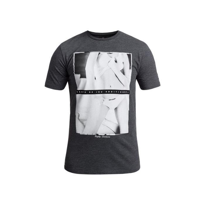 RUGBY DIVISION - Tee shirt manches courtes TEMPS DE JEU gris chiné 100% coton