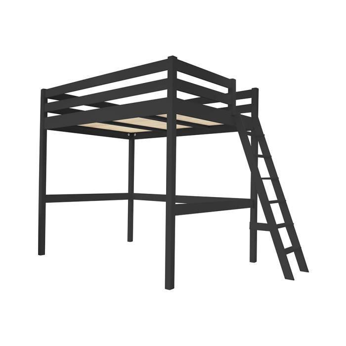 Lit Mezzanine Sylvia avec échelle bois - Couleur - Noir, Dimensions - 90x200