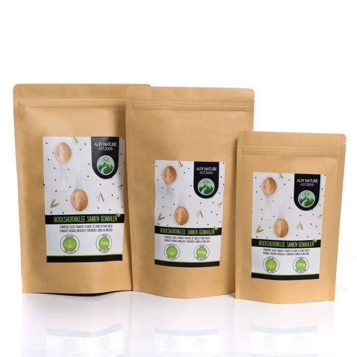 Fenugrec moulu (1kg), fenugrec en poudre 100% naturel, graines de fenugrec en poudre, bien entendu sans additifs, végétaliennes