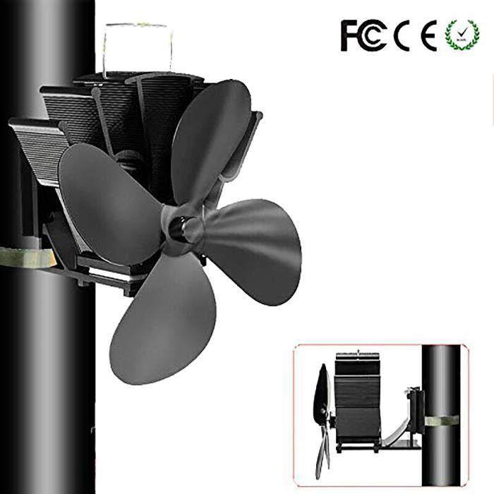 Ventilateur Poele à Bois, 4 Pales Silencieuse Alimenté Ventilateur de Poele, Ecofan pour Poêle à Bois/Cheminée/Gaz/Granulés/Bois/Bûc