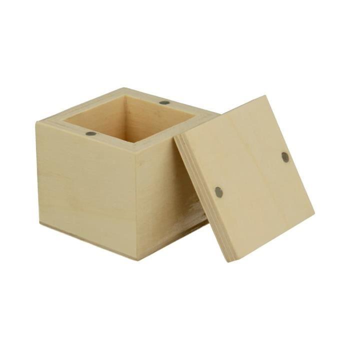 Boîte en bois carrée 5 cm couvercle aimanté - Artémio Beige