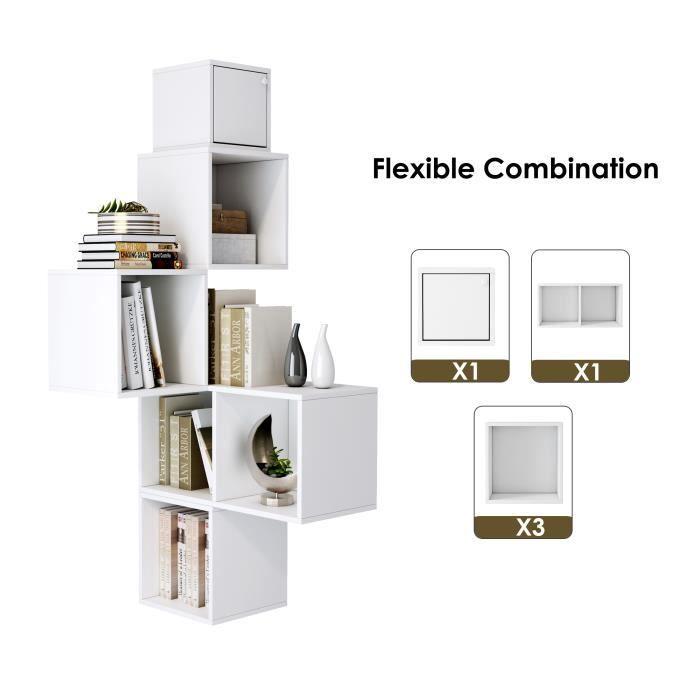 Étagères Murales Bibliothèque Cubes 5 Niveaux Lot de 5 Étagère Flottante Cube Suspendu Angle Rangement Blanc