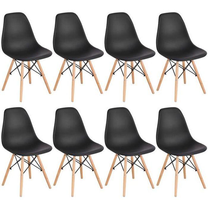 Yifunth Chaises Scandinaves Design Moderne, Bois & Métal, Lot de 8, Noir