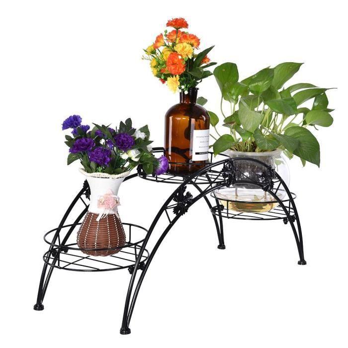 Fihero Présentoir à plantes en fer noir de pont en arc pour pot de fleur sur pied au sol, fer élégant