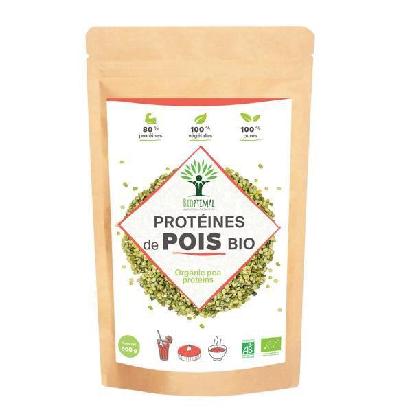 Pois Jaune - Bioptimal - Poudre de Protéine de Pois Bio - Végétale Vegan - Energie - Made in France - Certifié Ecocert - 500g