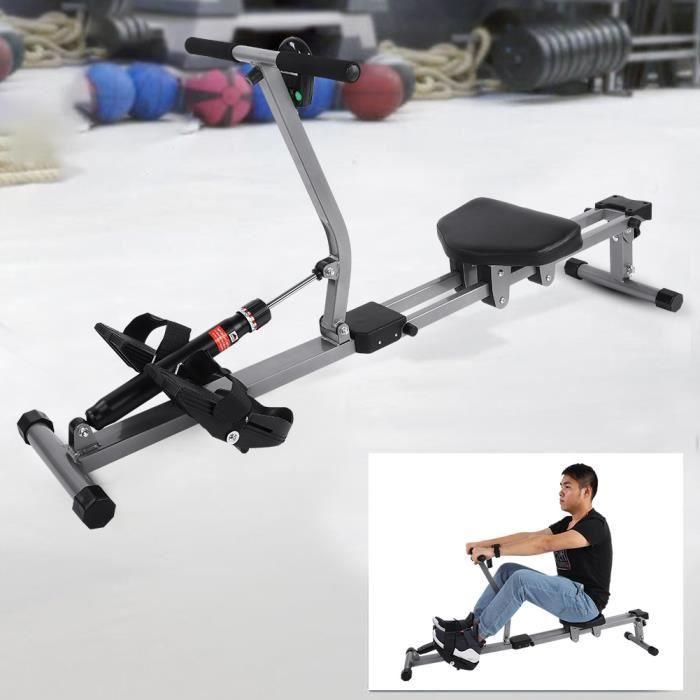 Machine à ramer en acier Cardio Rower Workout Body Training Accessoire de fitness à domicile -XNA