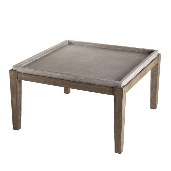 Table basse carrée - Béton pieds Acacia marron - 80 x 80 cm - Gris