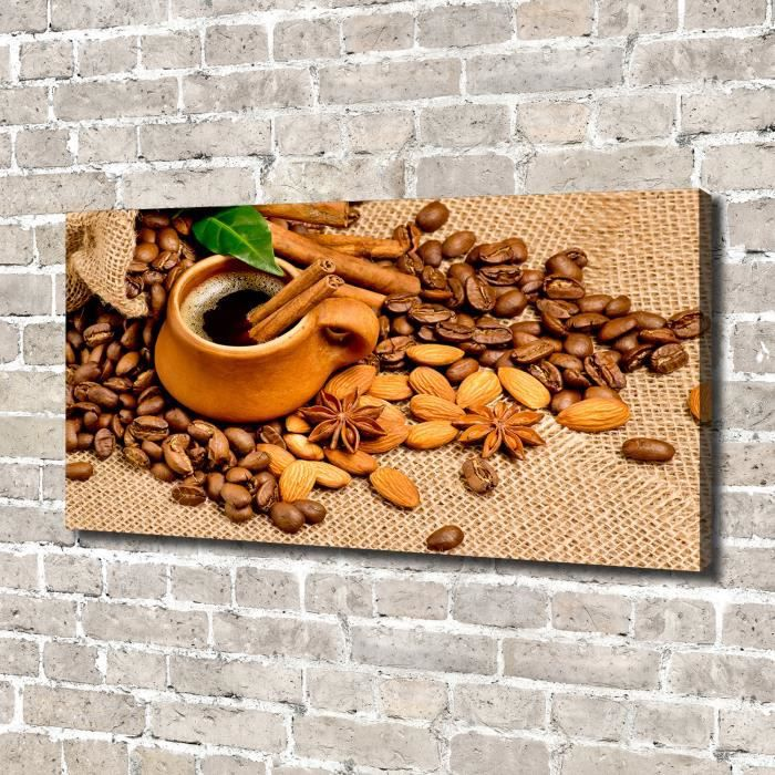 Tulup 140x70 cm art mural - Image sur toile:- Nourriture boissons - Grains De Café Une Tasse - Brun