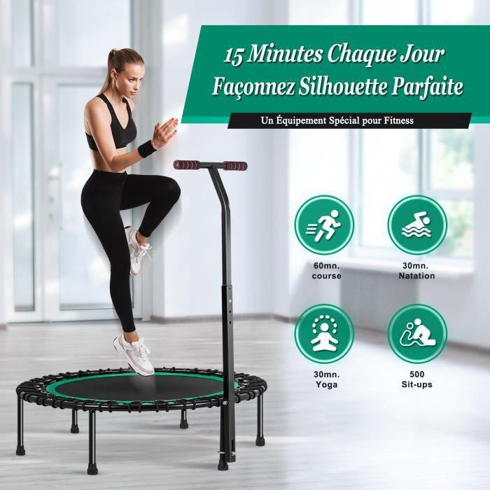 Mini Trampoline Fitness Interieur Adulte 100cm avec Poignée Réglable pour Exercice Physique et Cardio - Charge Maximale 200kg
