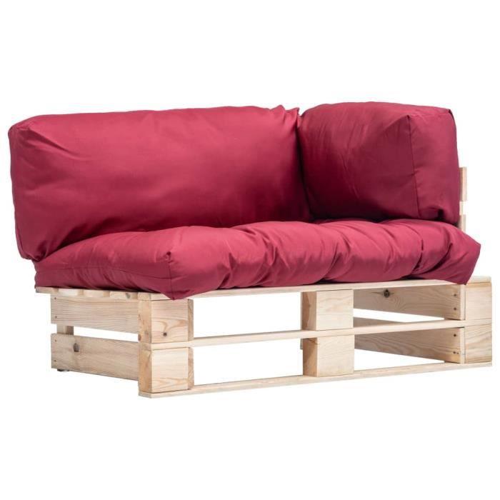 Canapé de jardin palette avec coussins Rouge Pinède FSC