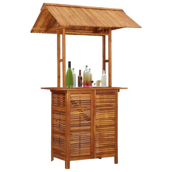 Magnifique Table bar de jardin Design - Table haute de bar - Table d'extérieur avec toit 122x106x217 cm Bois d'acacia @24913