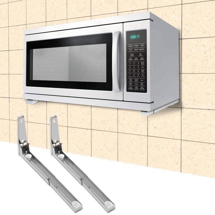 2pcs Support à four à micro-ondes en acier inoxydable étagère à four à micro-ondes mural extensible