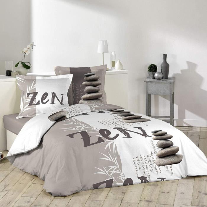 Housses de couettes douceur d'int&eacuterieur 1641550 GALETS ZEN Parure avec 2 Taies d'oreillers Coton Multicolore 240 x 220 cm5