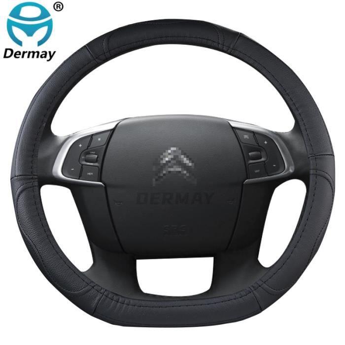 Couvre volant,Housse de volant en cuir véritable, pour citroën C3 XR C4 Sega C4L Elysee DS3 DS4 DS5, capot de voiture - Type Black